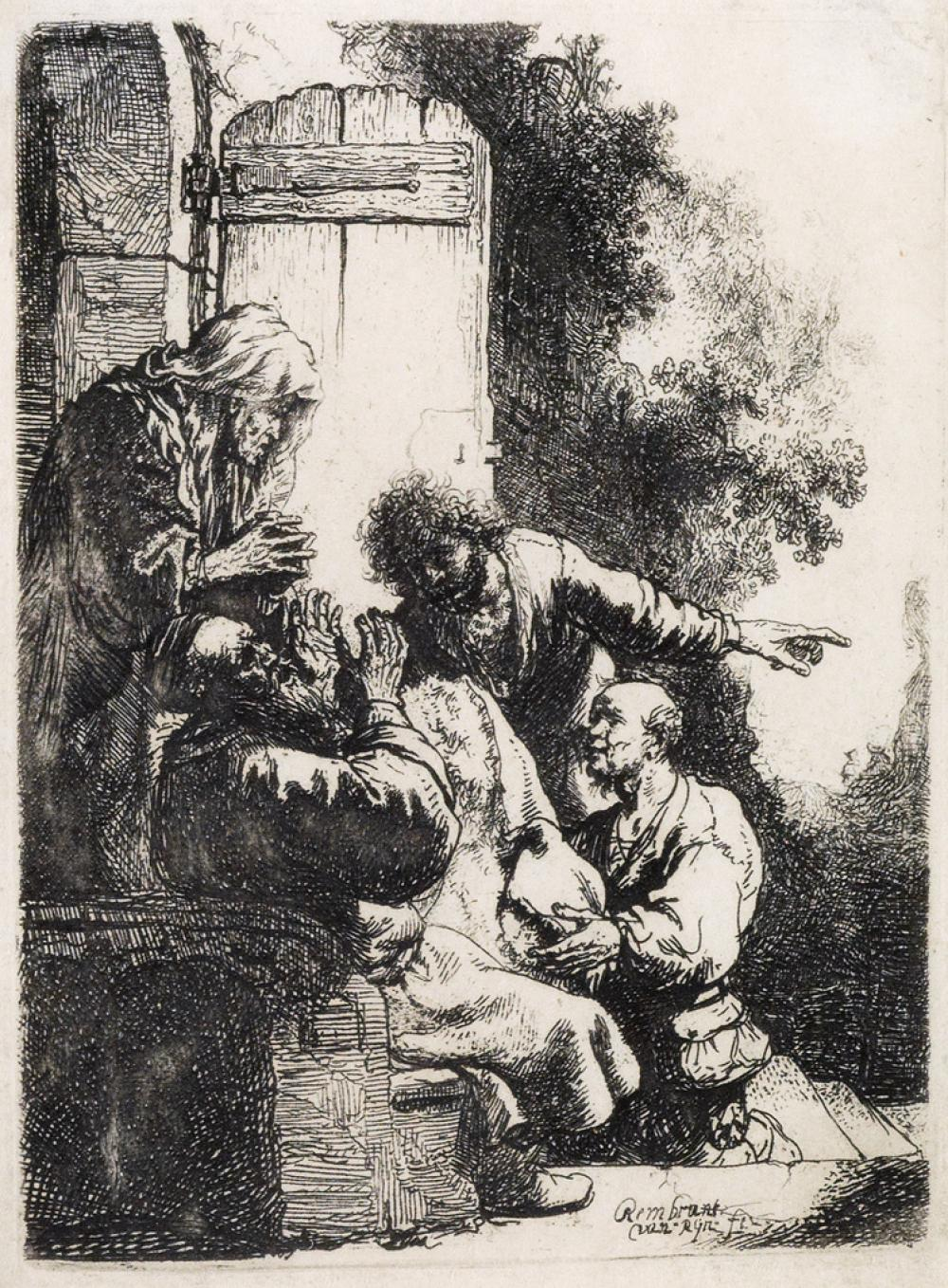 REMBRANDT VAN RIJN Joseph''s Coat Brought to Jacob.