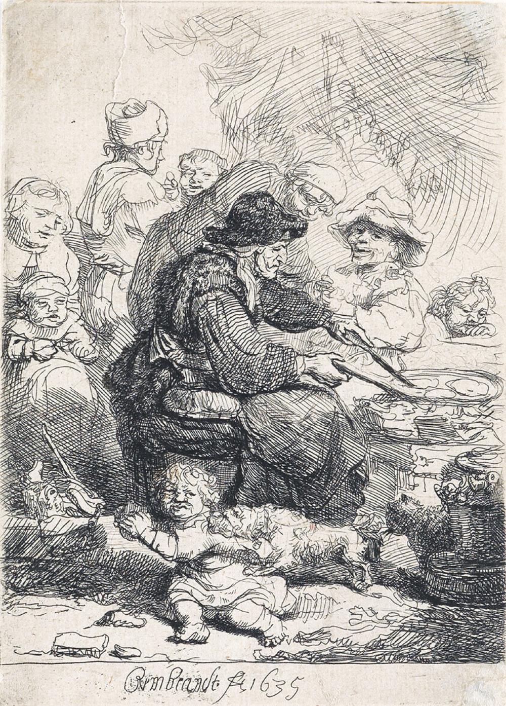 REMBRANDT VAN RIJN The Pancake Woman.