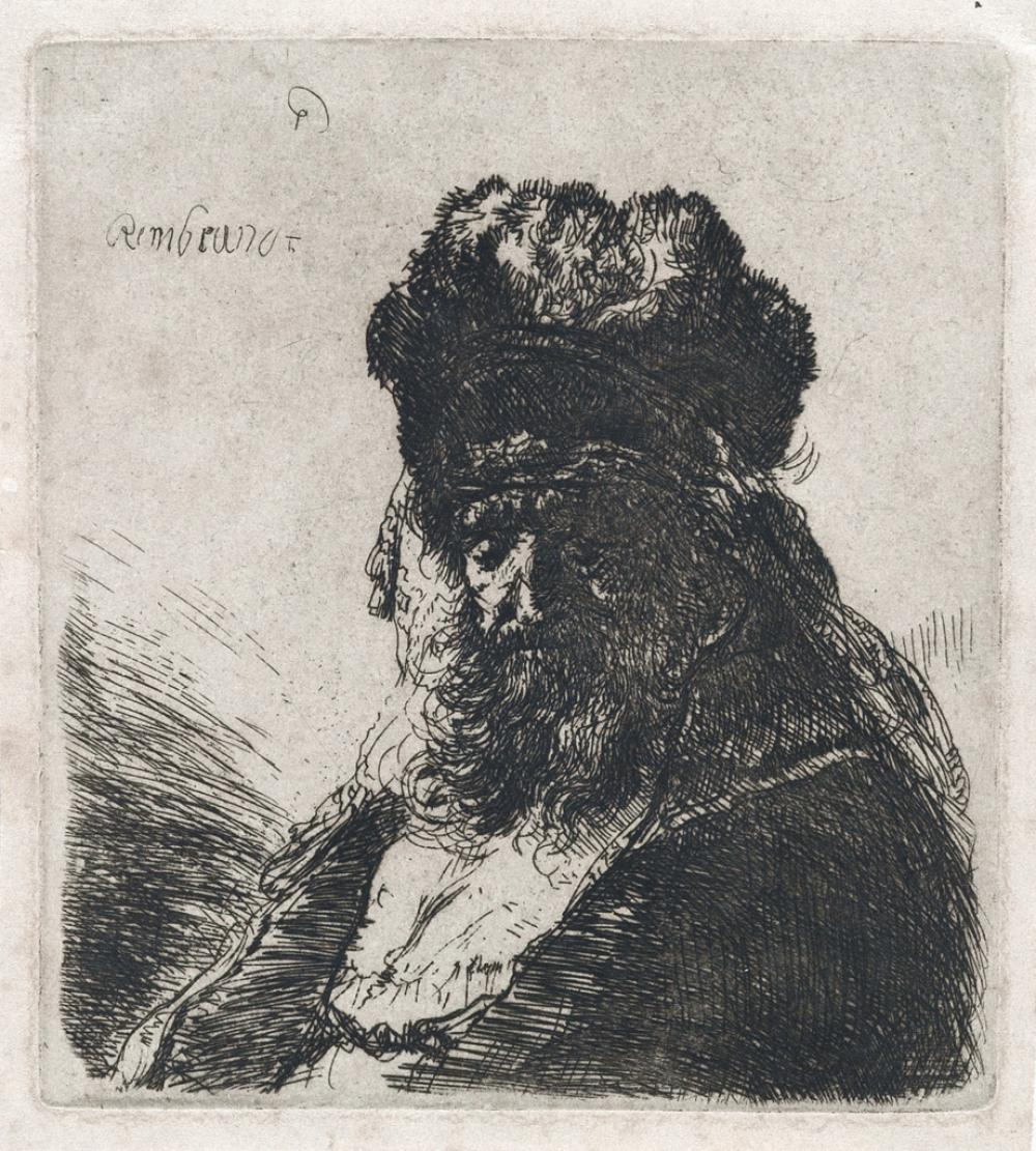 REMBRANDT VAN RIJN Old Bearded Man in a High Fur Cap, with Eyes Closed.