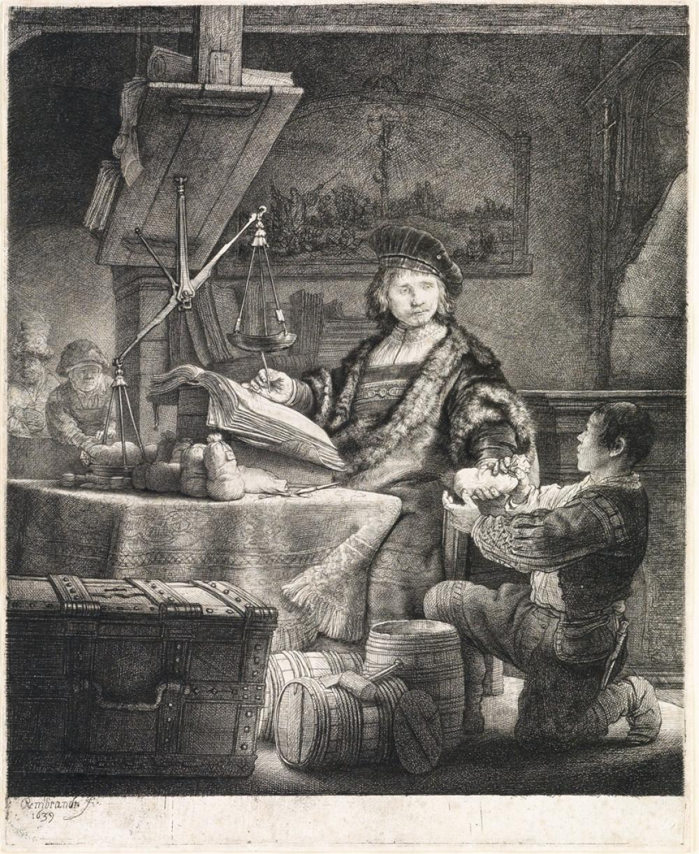 REMBRANDT VAN RIJN Jan Uytenbogaert, The Goldweigher.