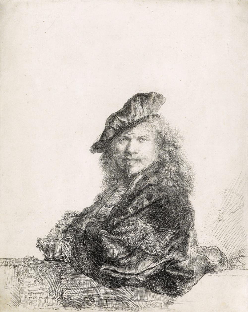 REMBRANDT VAN RIJN Self Portrait Leaning on a Stone Sill.