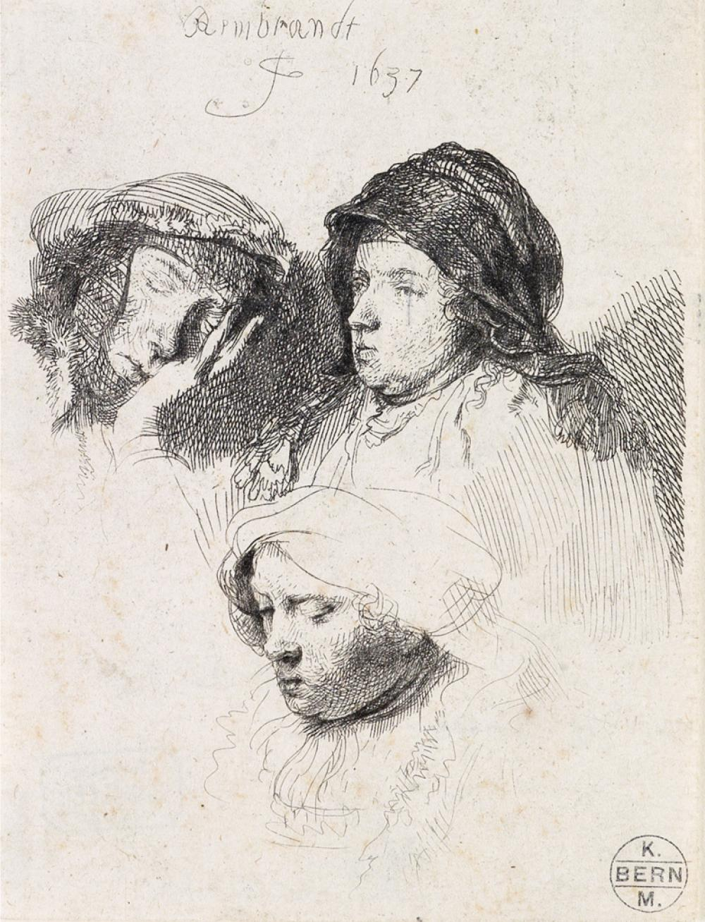 REMBRANDT VAN RIJN Three Heads of Women, One Asleep.