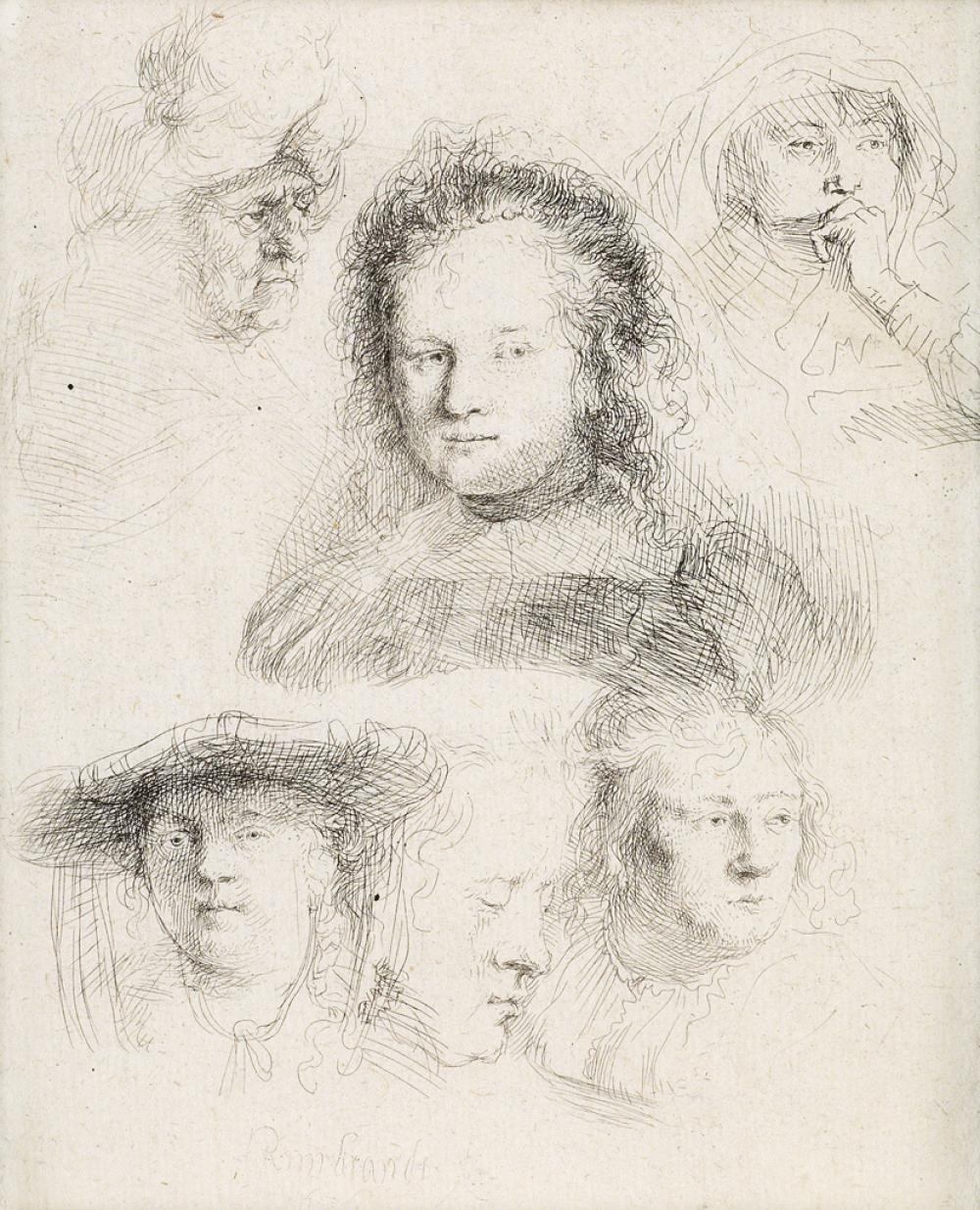 REMBRANDT VAN RIJN Studies of the Heads of Saskia and Others.
