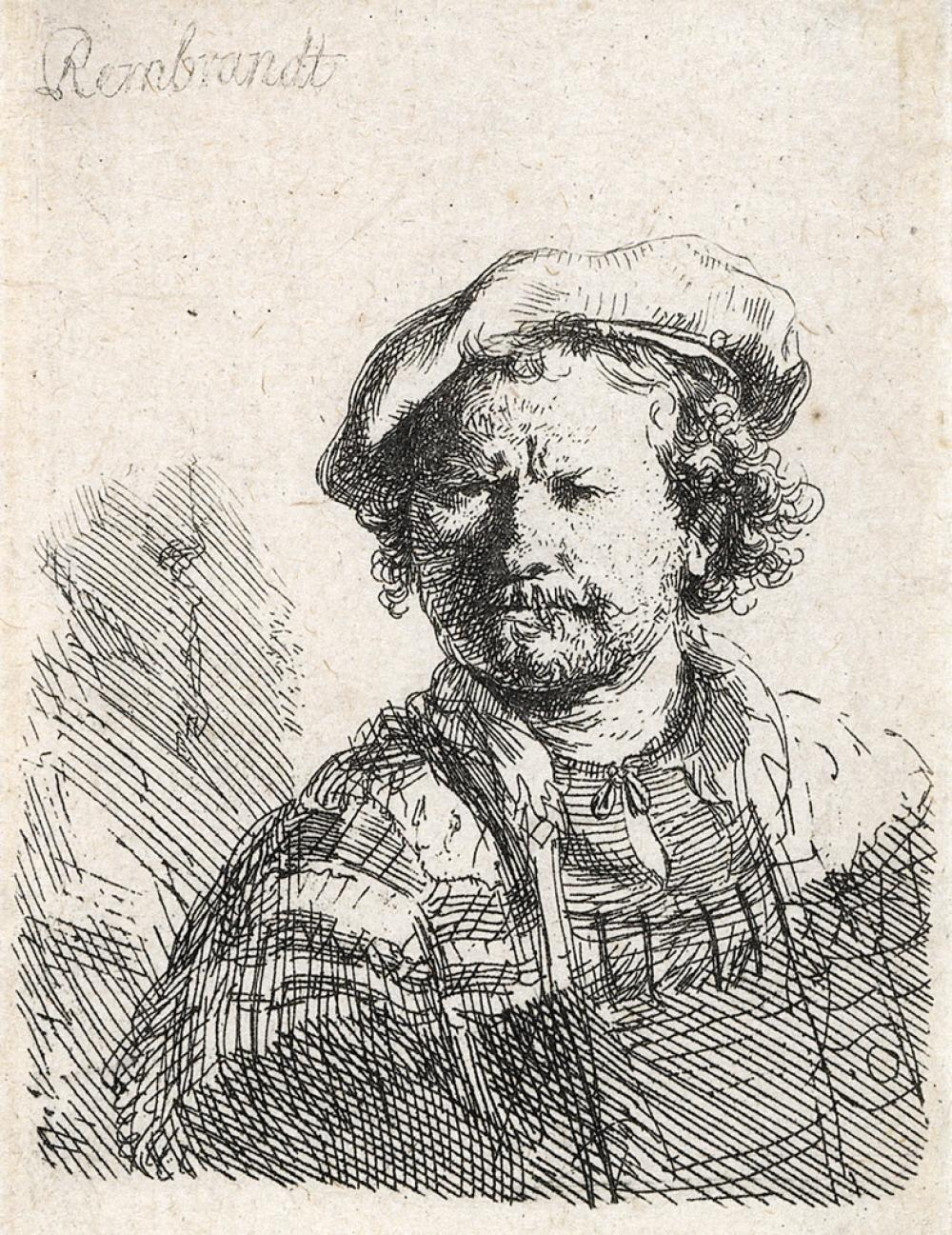 REMBRANDT VAN RIJN Self Portrait in a Flat Cap and Embroidered Dress.