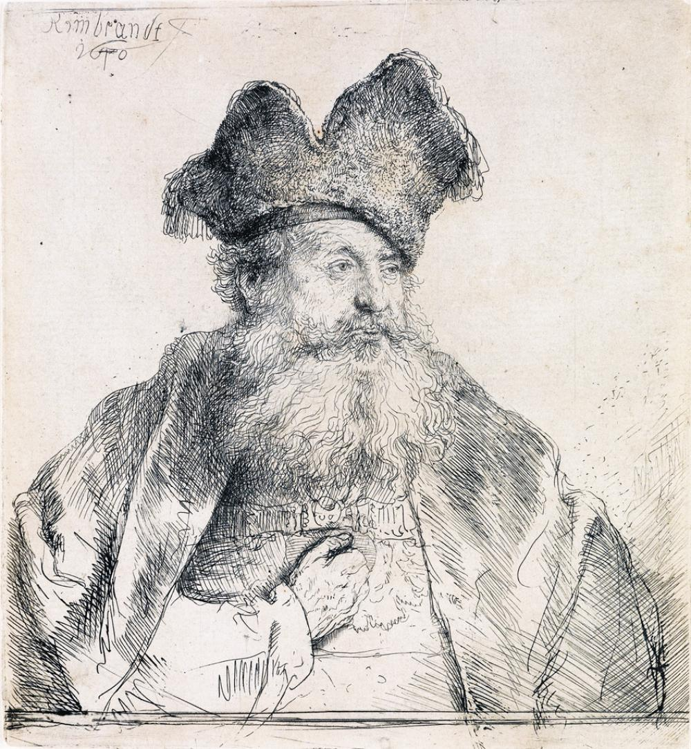 REMBRANDT VAN RIJN Old Man with a Divided Fur Cap.