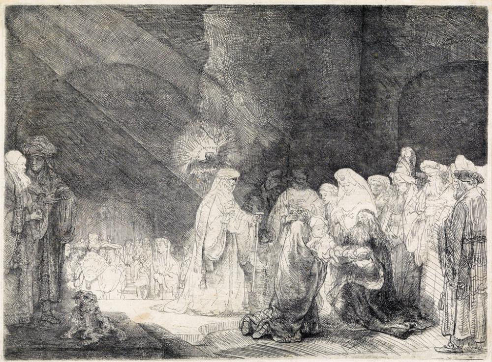 REMBRANDT VAN RIJN The Presentation in the Temple: Oblong Print.