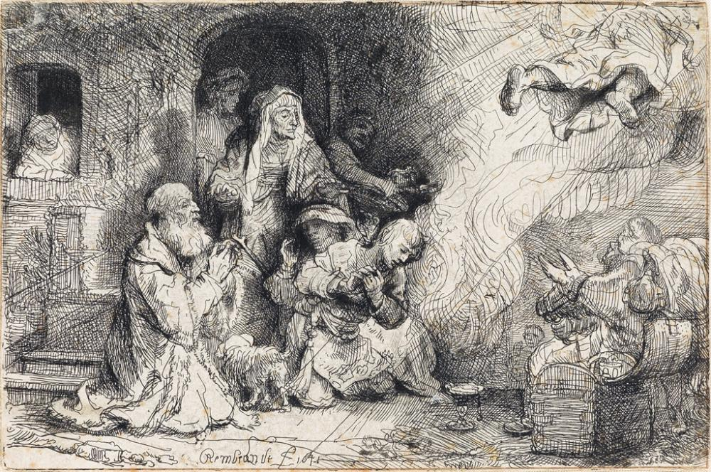REMBRANDT VAN RIJN The Angel Departing from the Family of Tobias.