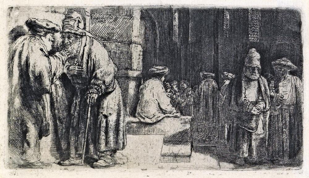 REMBRANDT VAN RIJN Jews in the Synagogue.