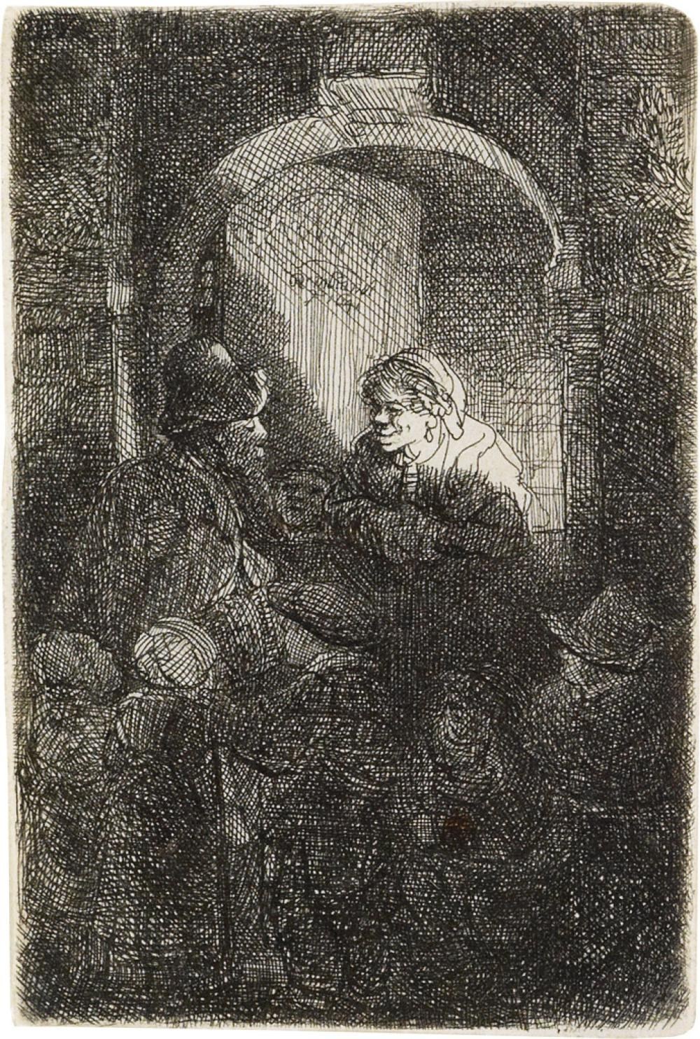 REMBRANDT VAN RIJN Woman at a Door Hatch Talking to a Man and Children.