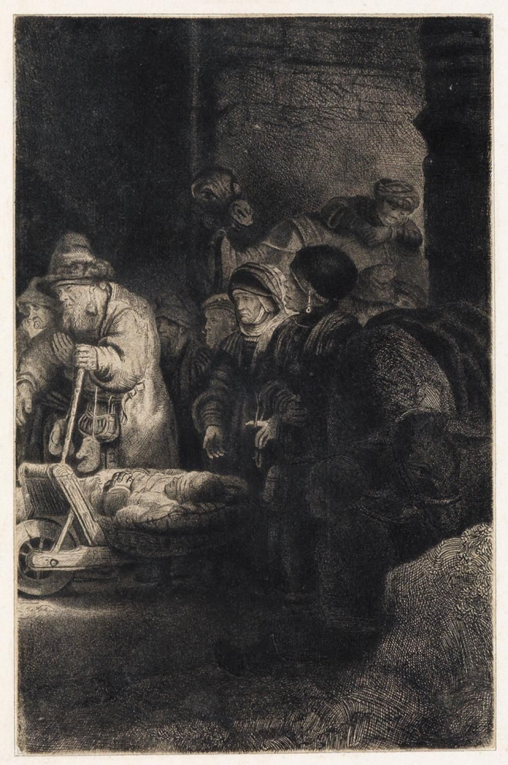 REMBRANDT VAN RIJN Christ Healing the Sick (Hundred Guilder Print)..