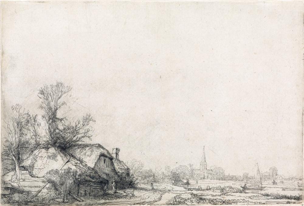 REMBRANDT VAN RIJN Cottages Beside a Canal: A View of Diemen.