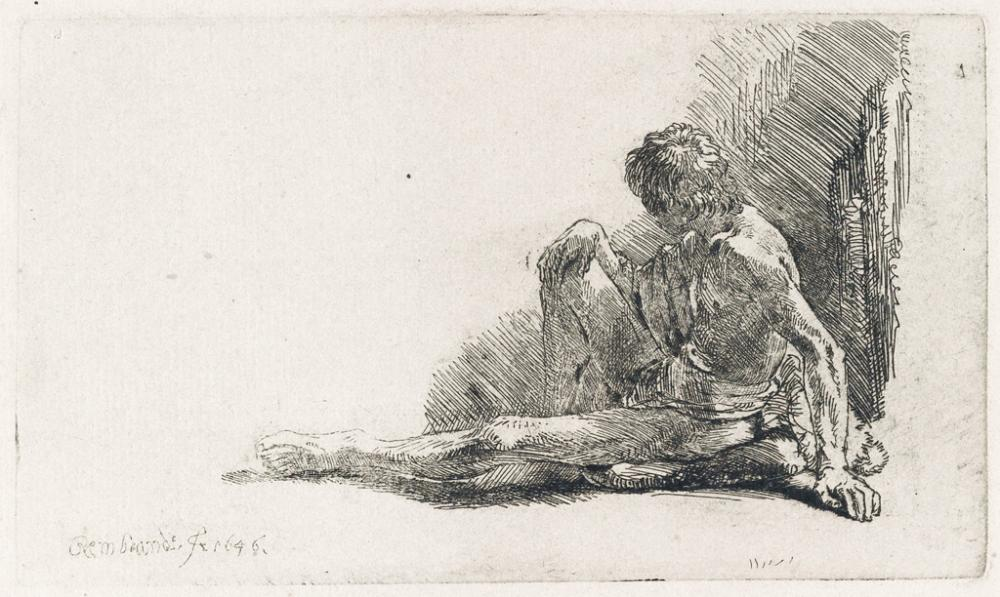 REMBRANDT VAN RIJN Nude Man Seated on the Ground with One Leg Extended.