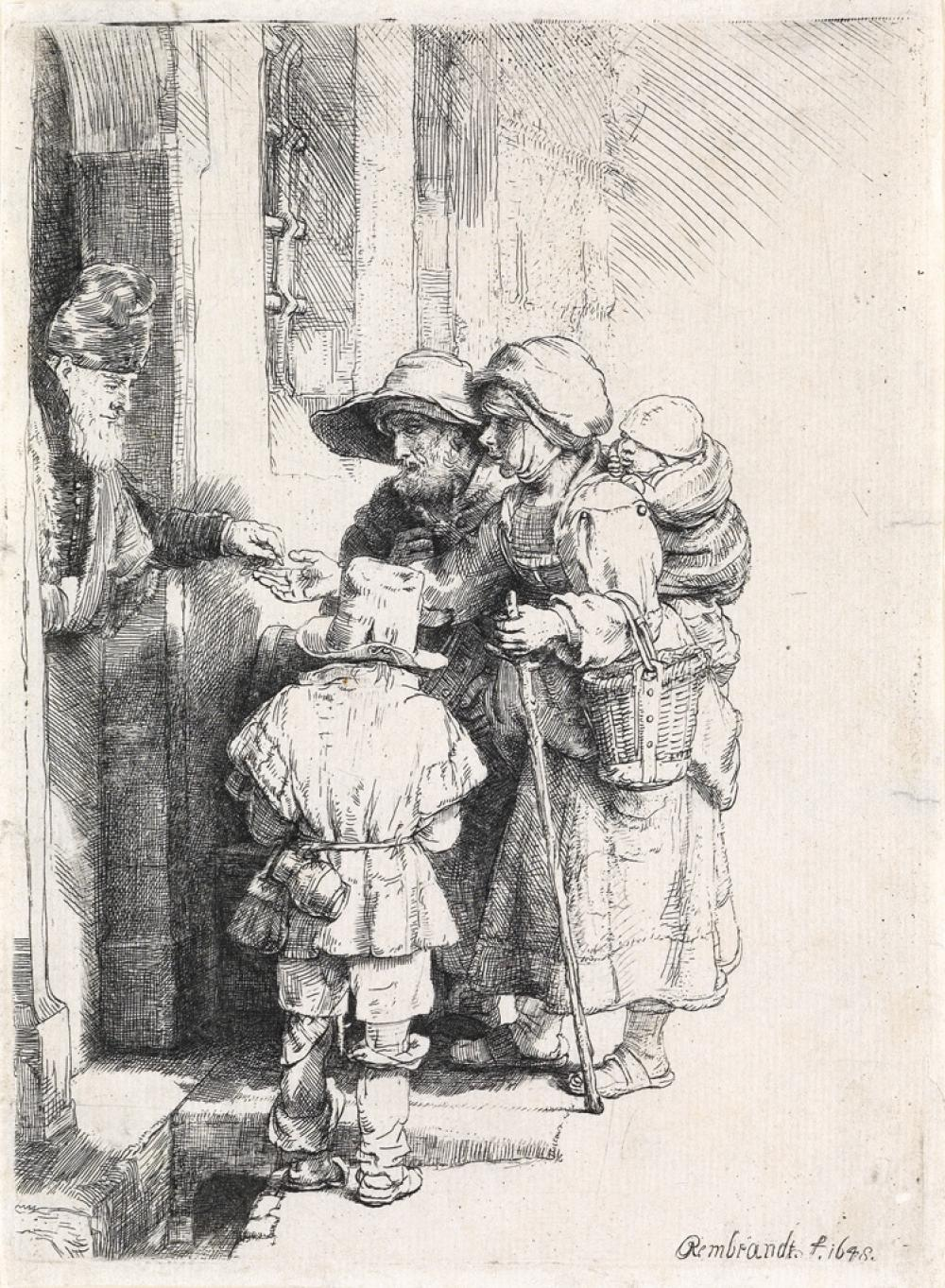 REMBRANDT VAN RIJN Beggars Receiving Alms at a Door.