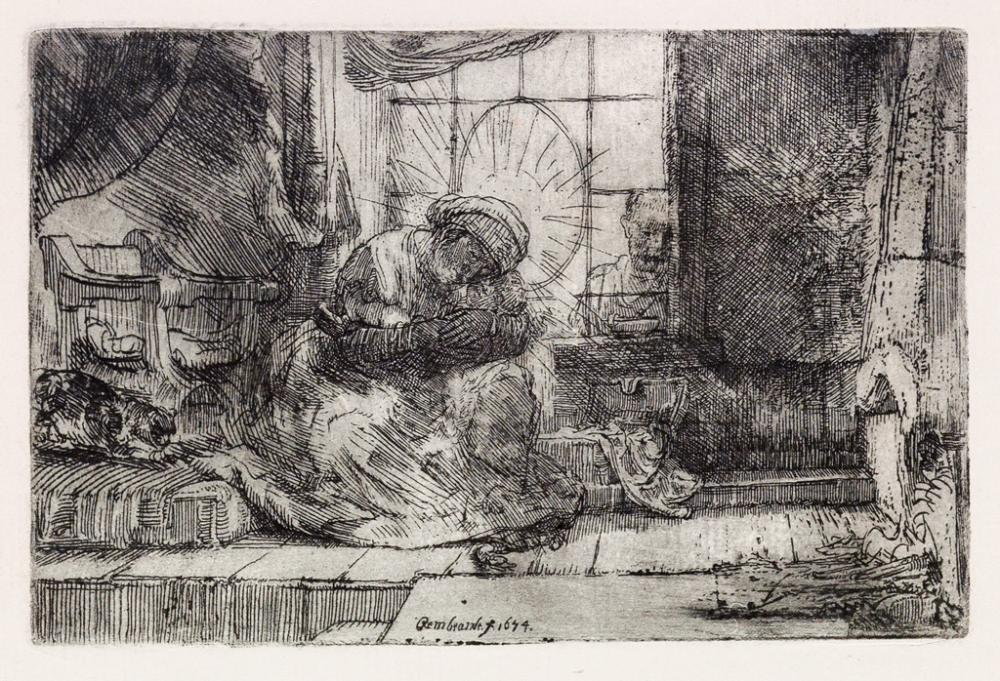 REMBRANDT VAN RIJN The Virgin and Child with Cat and Snake.