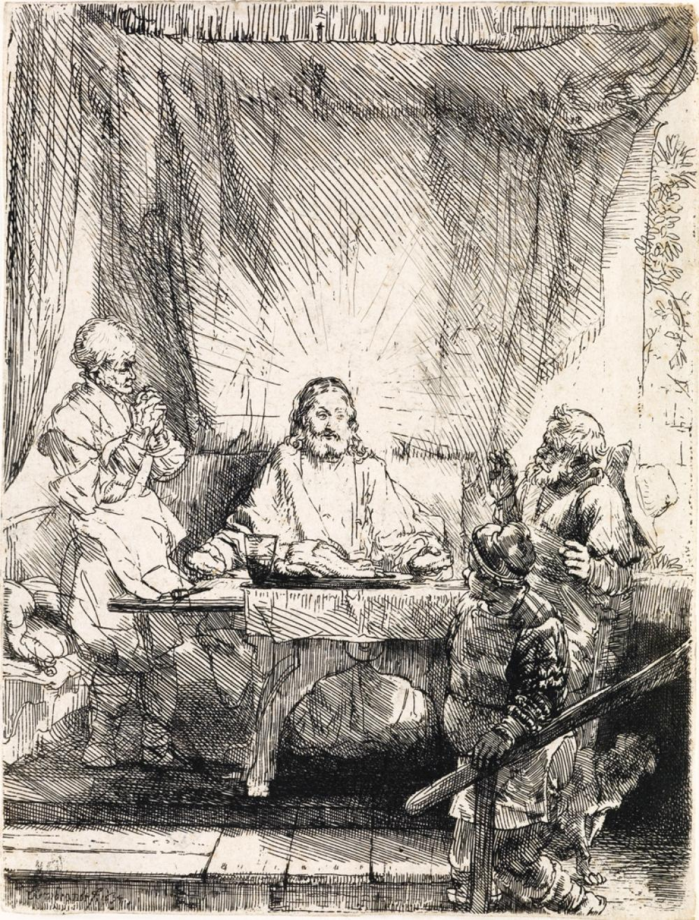 REMBRANDT VAN RIJN Christ at Emmaus: The Larger Plate.
