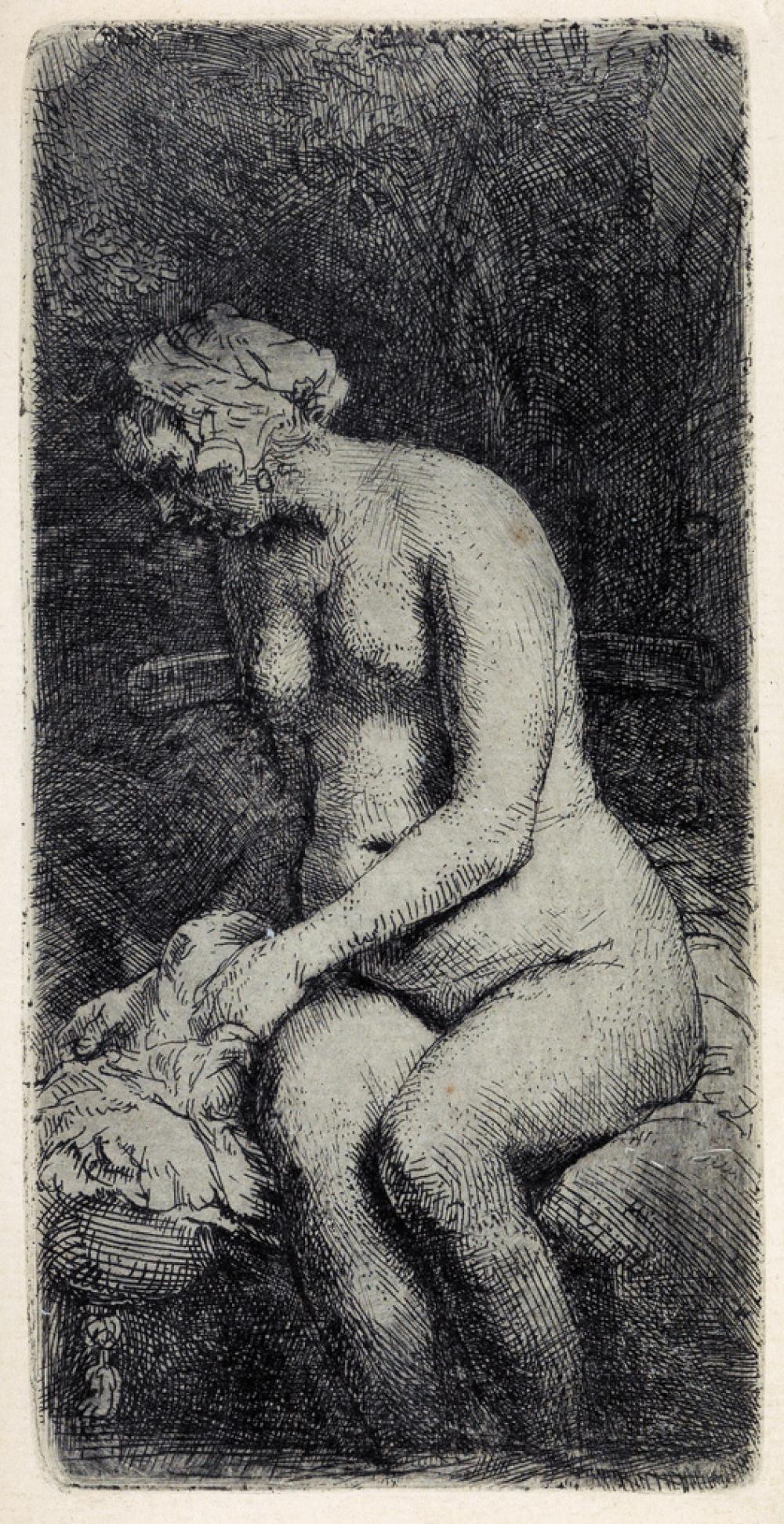 REMBRANDT VAN RIJN Woman Bathing her Feet at a Brook.