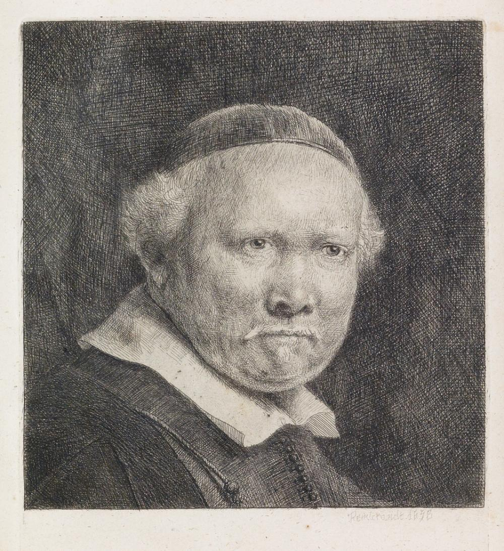 REMBRANDT VAN RIJN Lieven Willemsz van Coppenol, Writing Master: larger plate.