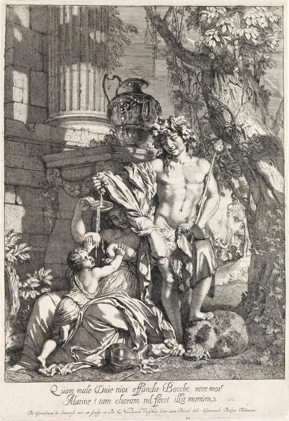 GÉRARD DE LAIRESSE Bacchus Squeezing Grapes into Wine.