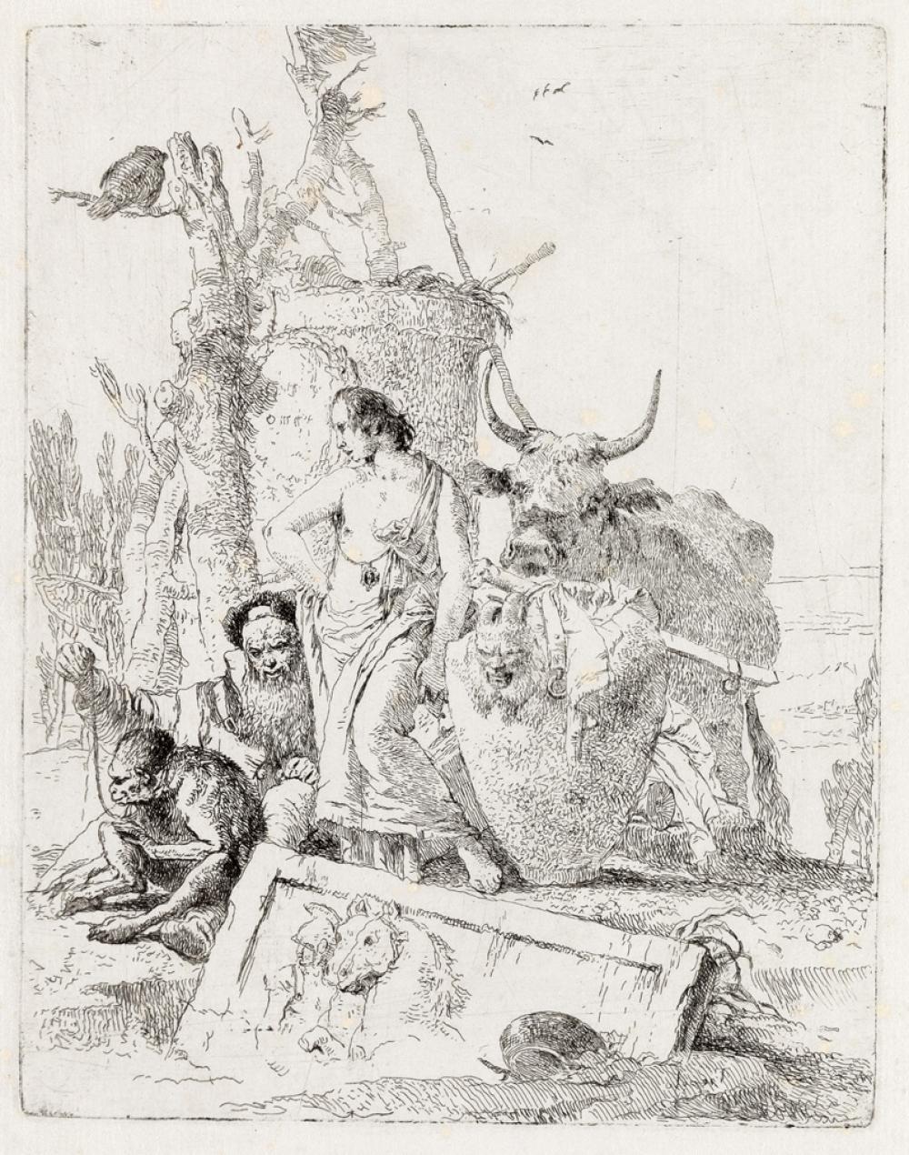 GIOVANNI B. TIEPOLO Pastorella e vecchio con scimmia.
