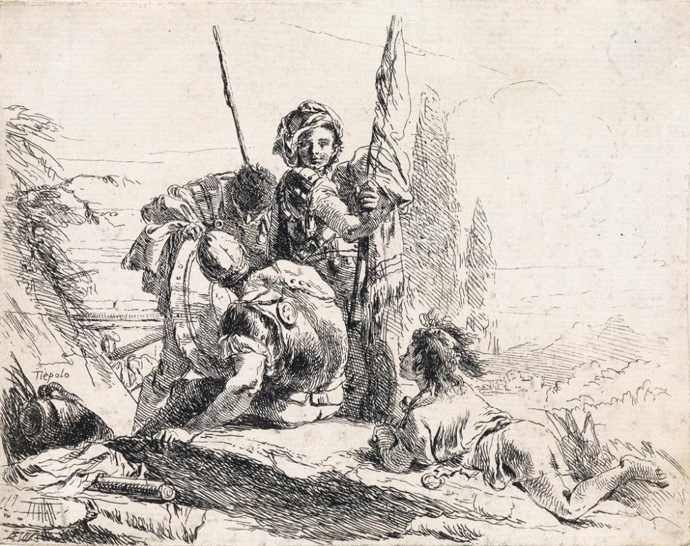 GIOVANNI B. TIEPOLO Tre soldati e un ragazzo.