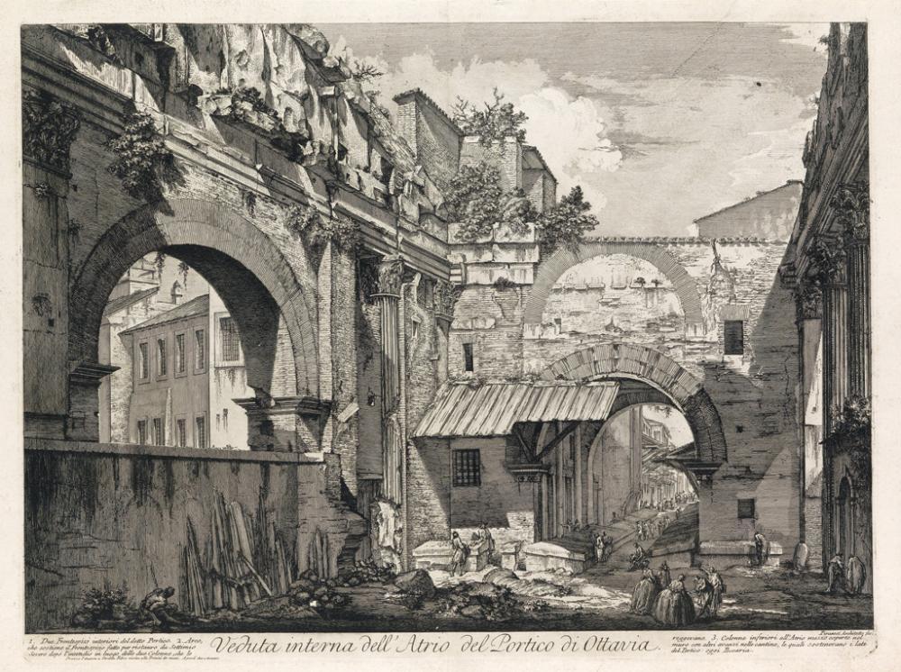 GIOVANNI B. PIRANESI Veduta interna dell'Atrio del Portico di Ottavia.