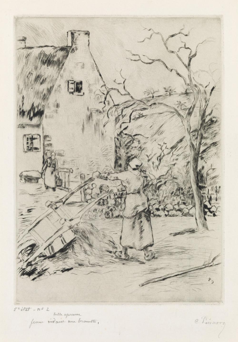 CAMILLE PISSARRO Femme vidant une brouette.