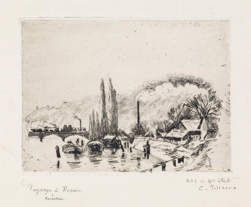 CAMILLE PISSARRO Paysage à Rouen (Côte Sainte-Catherine).