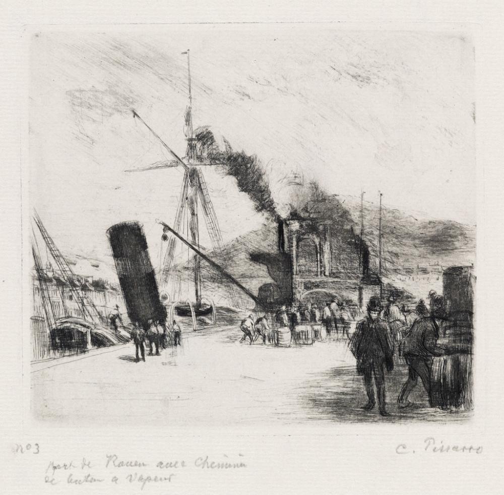 CAMILLE PISSARRO Port de Rouen (avec cheminées).
