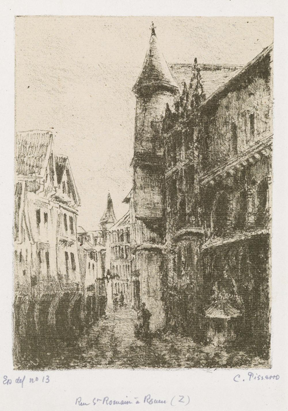 CAMILLE PISSARRO Rue Saint-Romain, à Rouen, 1ère planche.