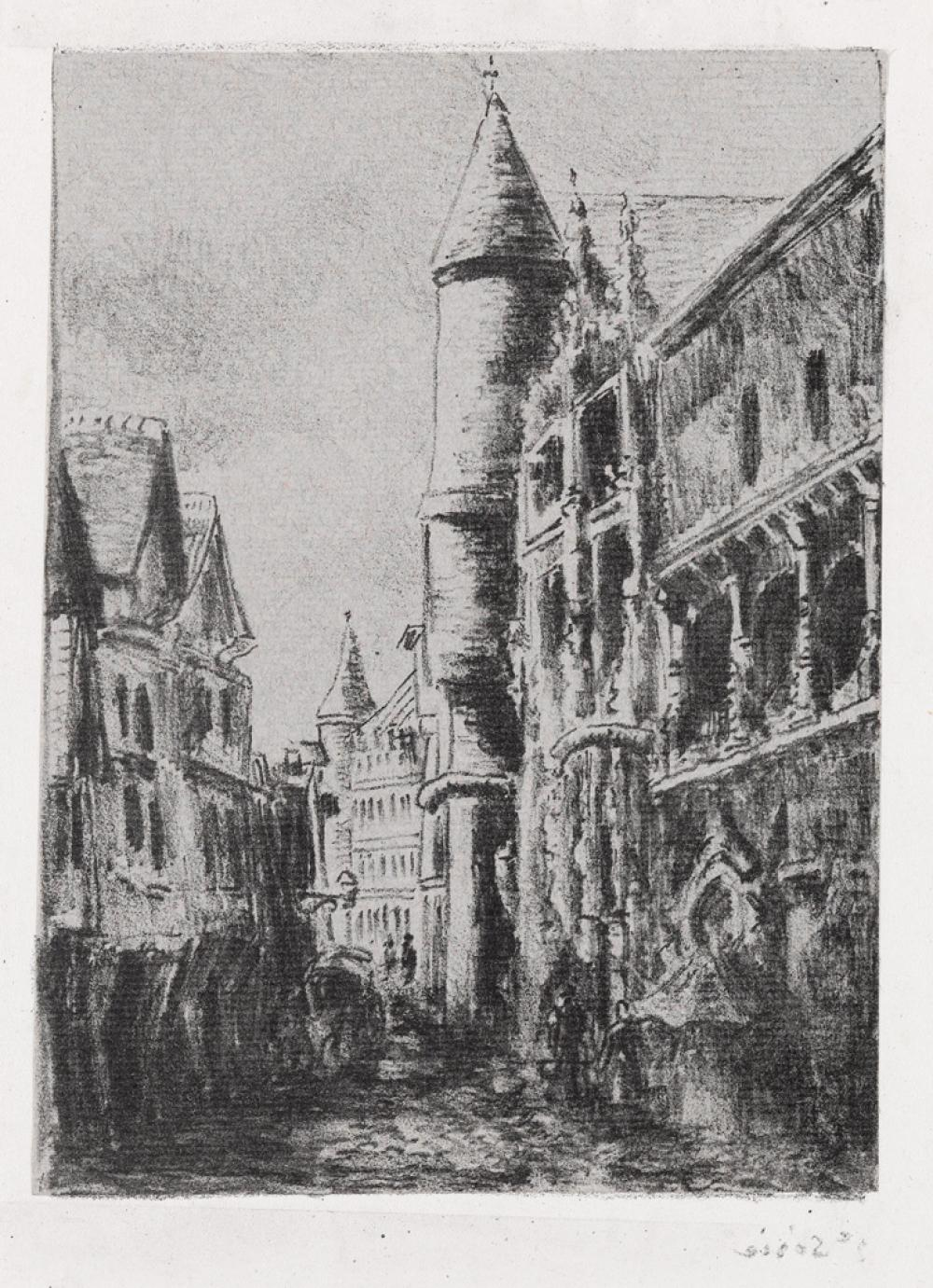 CAMILLE PISSARRO Rue Saint-Romain, à Rouen, 2e planche.