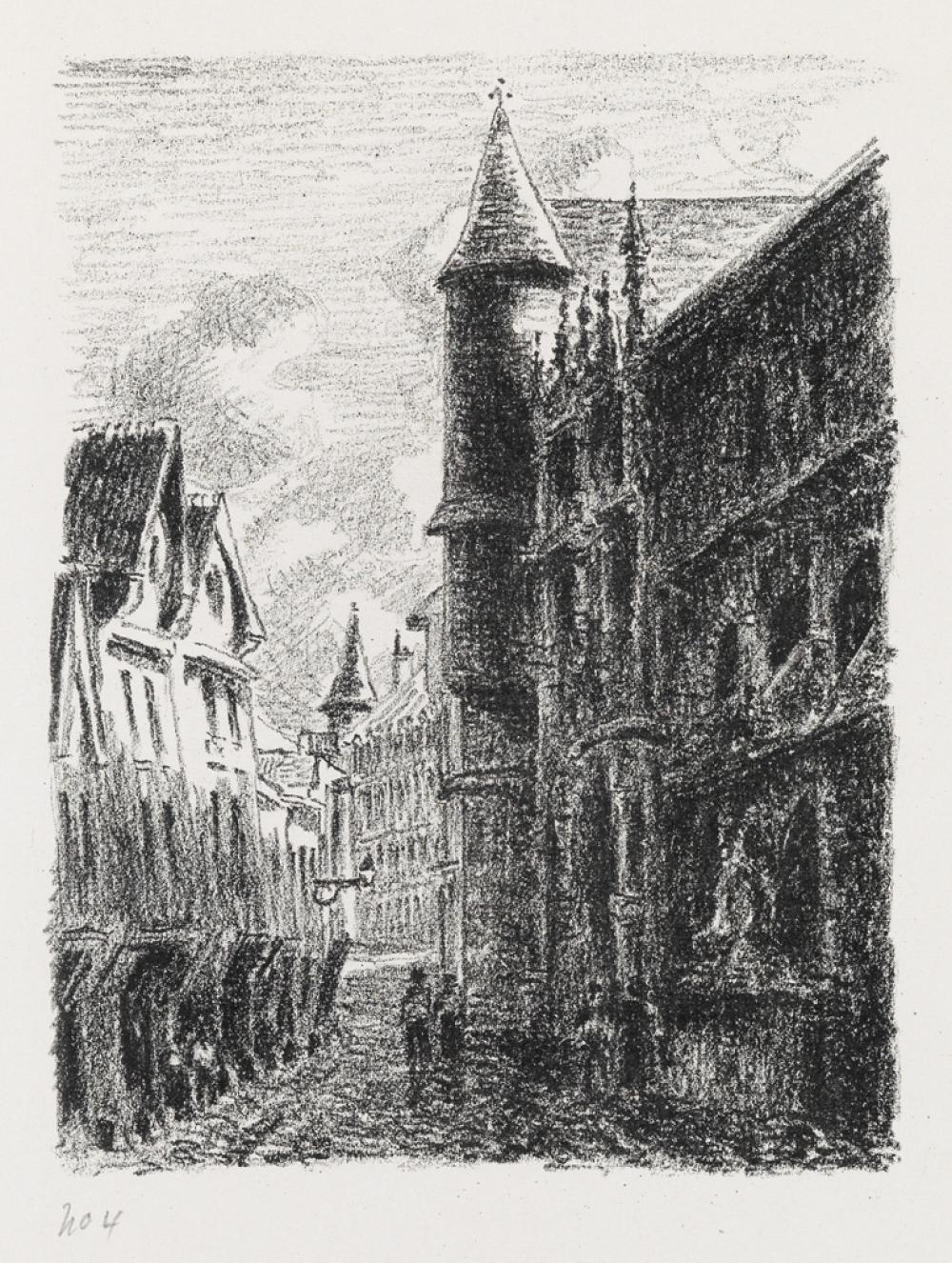 CAMILLE PISSARRO Rue Saint-Romain, à Rouen, 3e planche.
