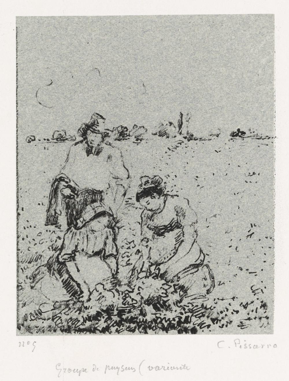 CAMILLE PISSARRO Groupe de paysans, 2e planche (variante).