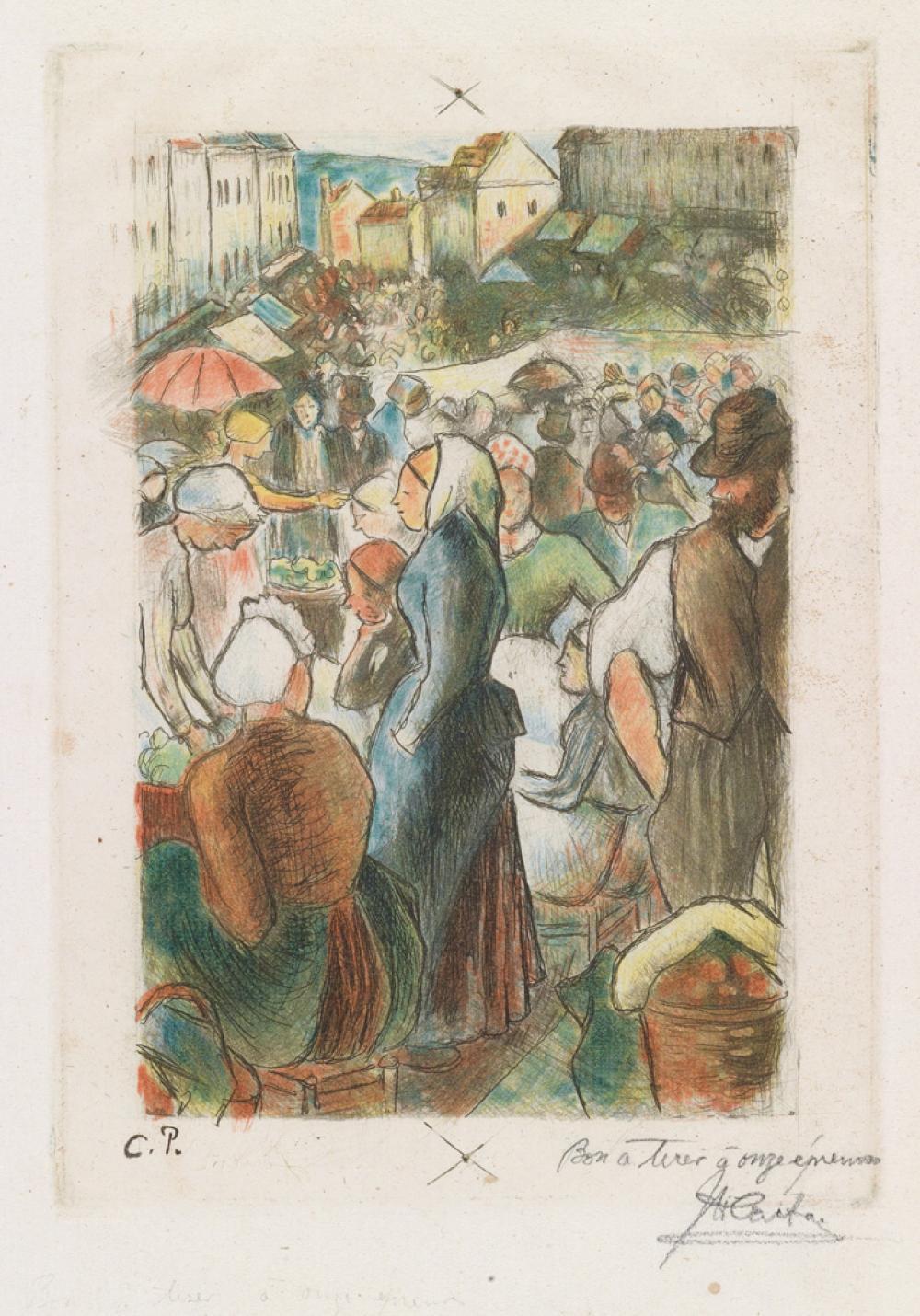 CAMILLE PISSARRO Église et ferme d'Eragny * Mendiantes * Paysannes à l'herbe * Marché de Gisors (rue Cappeville) * Baigneuses gardeus