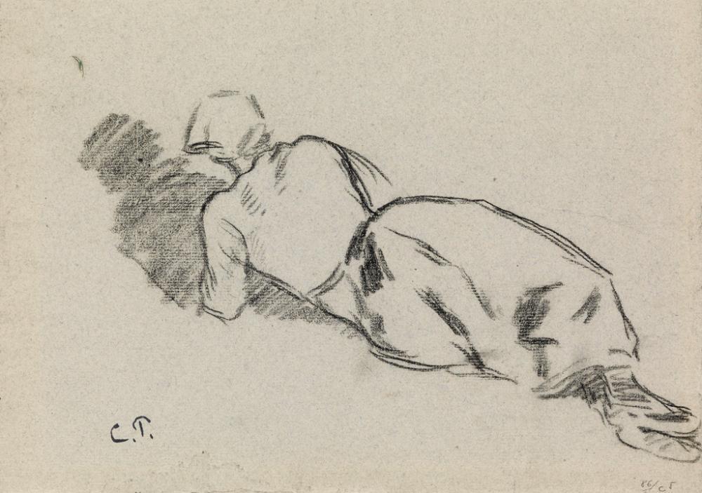 CAMILLE PISSARRO Femme au fichu, allongée.