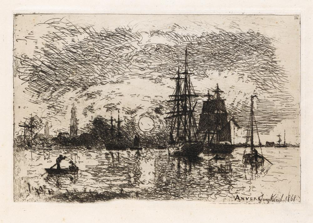 JOHAN BARTHOLD JONGKIND Soleil Couchant, Port d'Anvers.