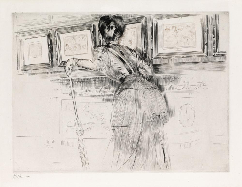 PAUL CÉSAR HELLEU Madame Helleu devant les Dessins de Watteau au Louvre.