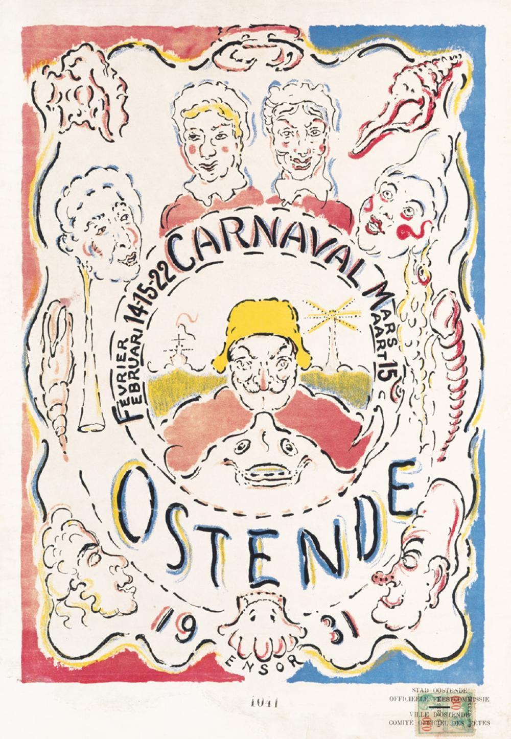 JAMES ENSOR Affiche pour le Carnaval d'Ostende.