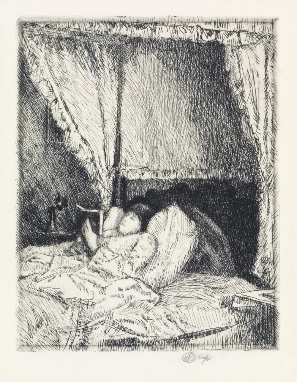 CHILDE HASSAM Reading in Bed.