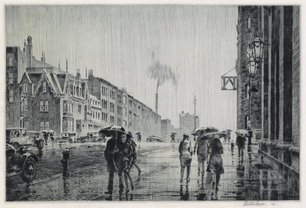 MARTIN LEWIS Rain on Murray Hill.