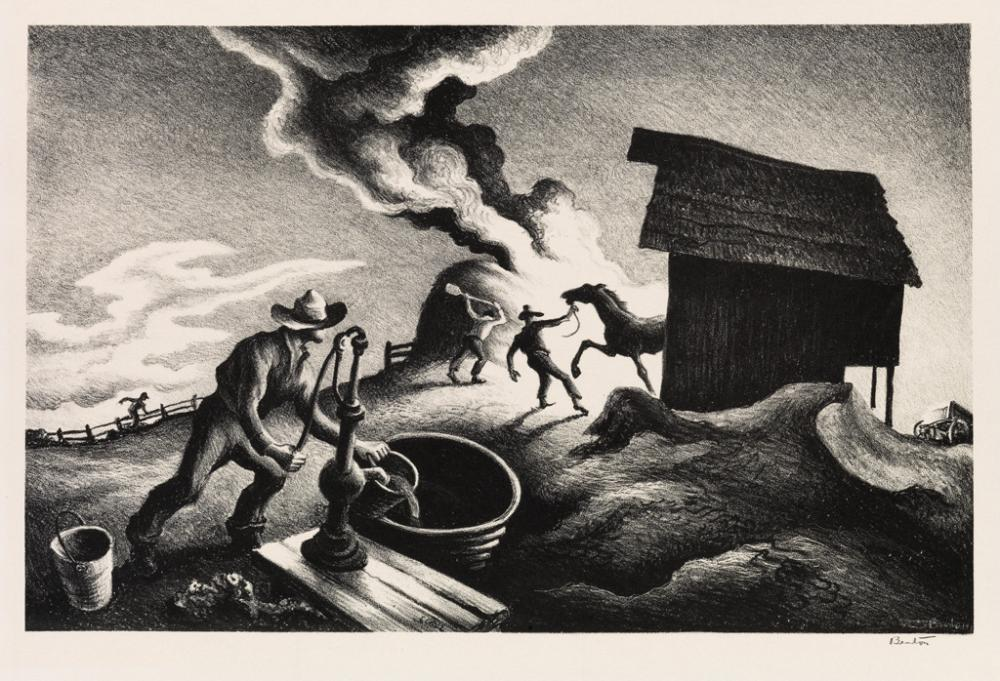 THOMAS HART BENTON Fire in the Barnyard.