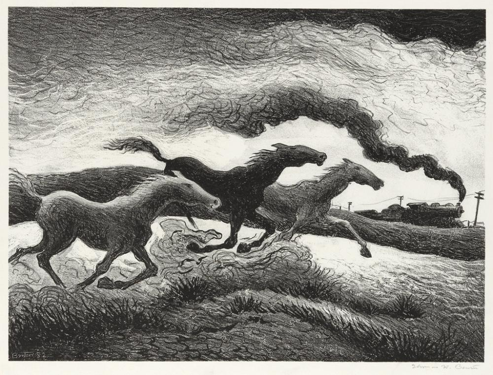 THOMAS HART BENTON Running Horses.