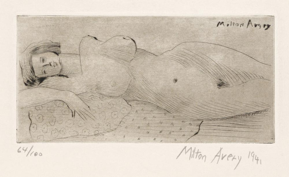 MILTON AVERY Reclining Nude.