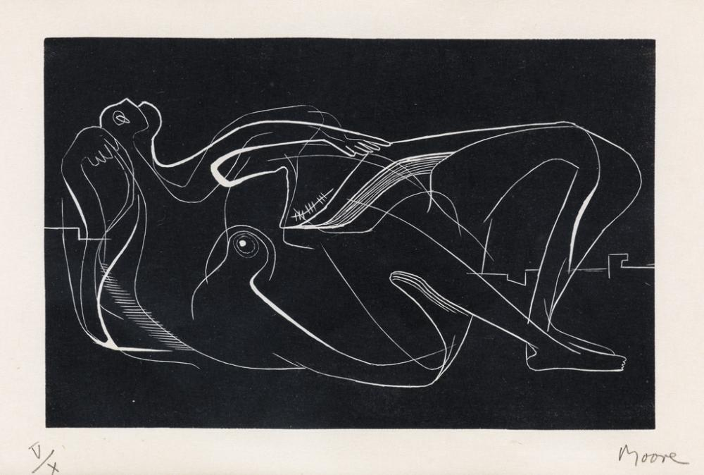HENRY MOORE Reclining Nude.