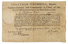 (AMERICAN REVOLUTION.) TRUMBULL, JONATHAN. Partly-printed Document Signed,