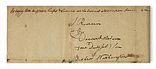 (AMERICAN REVOLUTION.) WASHINGTON, BUSHROD. Autograph Letter Signed, to his mother Hannah Washington,