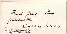 (CIVIL WAR.) SUMNER, CHARLES. Autograph Quotation dated and Signed: