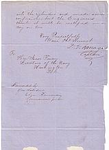 FARRAGUT, DAVID G. Letter Signed,