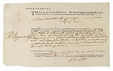HEYWARD, JR., THOMAS. Partly-printed Document Signed,