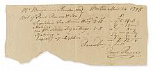 REVERE, PAUL. Autograph Document Signed, twice, receipt for silver goods and engraving services for Benjamin Henderson,
