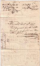 THOMAS, ISAIAH. Autograph Document Signed, receipt acknowledging payment in full for debts incurred by John Farrer as described in holo
